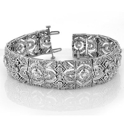 Natural 8.0 ctw Diamond Bracelet 14K White Gold -