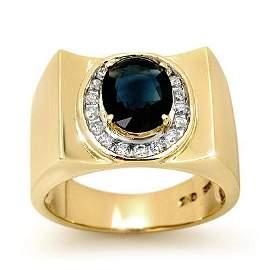 Genuine 2.33 ctw Sapphire & Diamond Men's Ring 10K Gold
