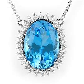 Genuine 19.0 ctw Blue Topaz & Diamond Necklace 14K Gold