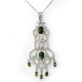 Genuine 7.65ct Green Tourmaline & Diamond Necklace Gold
