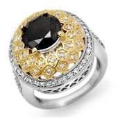 Natural 4.55 ctw White & Black Diamond Ring 14K Gold