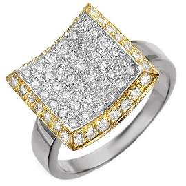 Natural 1.25 ctw Diamond Engagement Ring 10K Multi tone