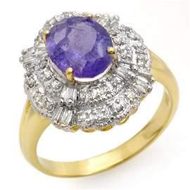 Genuine 2.70ct Tanzanite & Diamond Ring 14K Yellow Gold