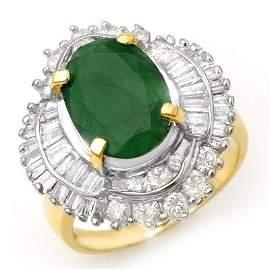 Genuine 6.0 ctw Emerald & Diamond Ring 14K Yellow Gold