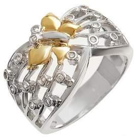 Natural 0.30 ctw Diamond Ring 10K Multi tone Gold