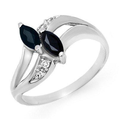 Genuine 0.74 ctw Sapphire & Diamond Ring 10K White Gold