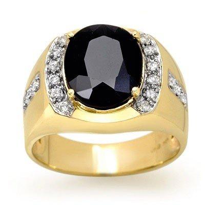 Genuine 6.58ctw Blue Sapphire & Diamond Men's Ring Gold