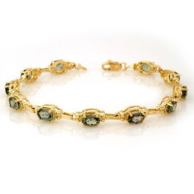 Genuine 8.0 ctw Green Sapphire Bracelet 10K Yellow Gold
