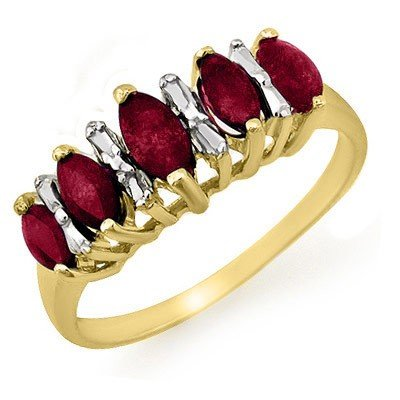 Genuine 0.88 ctw Ruby Ring 10K Yellow Gold