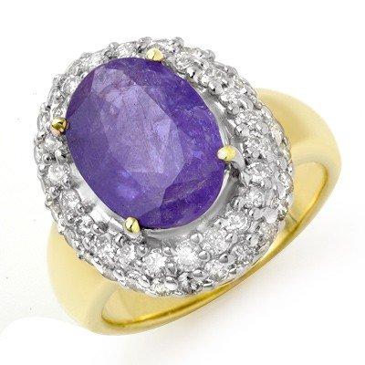 Genuine 5.40ct Tanzanite & Diamond Ring 14K Yellow Gold