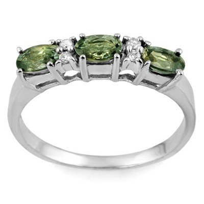 Genuine 1.33 ctw Green Sapphire & Diamond Ring 10K Whit