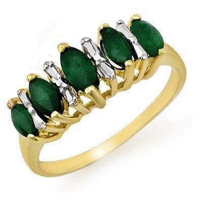 Genuine 0.70 ctw Emerald Ring 10K Yellow Gold