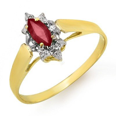 Genuine 0.33 ctw Ruby Ladies Ring 10K Yellow Gold