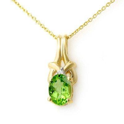 Genuine 0.87 ctw Peridot & Diamond Pendant 10k Gold