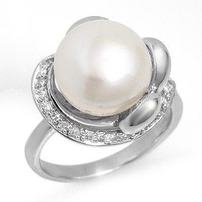 Genuine 0.25 ctw Pearl & Diamond Ring 10K White Gold