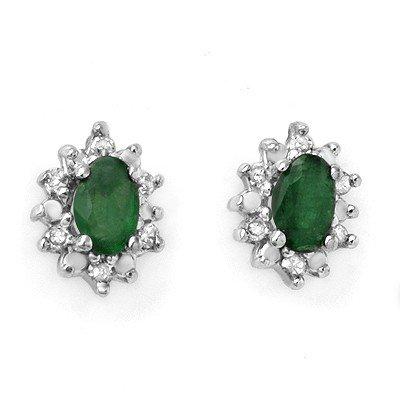 Genuine 0.61 ctw Emerald & Diamond Earrings Yellow Gold