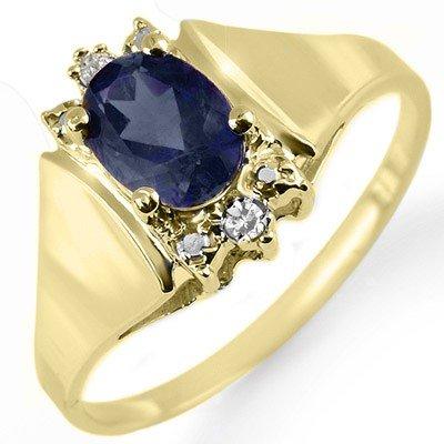 Genuine 1.28 ctw Sapphire & Diamond Ring Yellow Gold