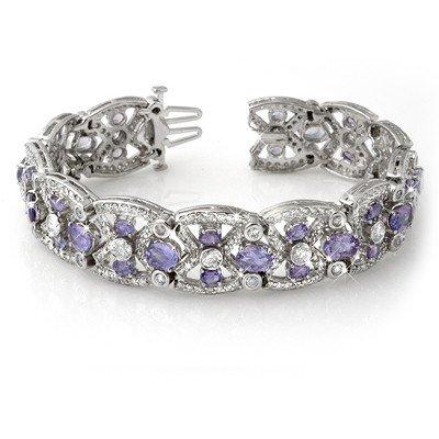 Genuine 24.0 ctw Tanzanite & Diamond Bracelet 14K Gold