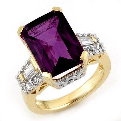 Genuine 9.55ctw Amethyst & Diamond Ring 10K Yellow Gold
