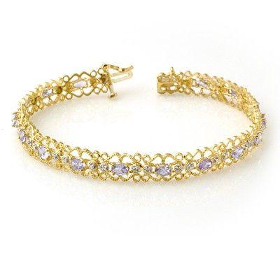 Genuine 2.82 ctw Tanzanite & Diamond Bracelet 10K Gold