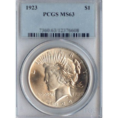 1923 Peace Silver Dollar PCGS Certified MS63