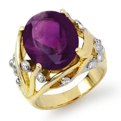 Genuine 8.54ctw Amethyst & Diamond Ring 14K Yellow Gold