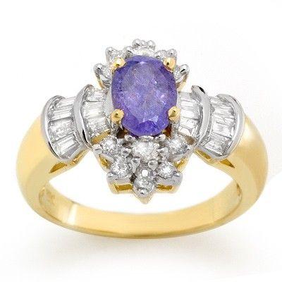 Genuine 1.76ct Tanzanite & Diamond Ring 14K Yellow Gold