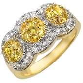 Genuine 20ctw Yellow Sapphire  Diamond Ring 14K Gold