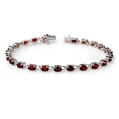 Genuine 9.20 ctw Garnet Bracelet 10K White Gold