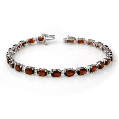 Genuine 15.5 ctw Garnet Bracelet 10K White Gold