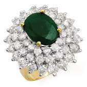 Genuine 1002ctw Emerald  Diamond Ring 14K Yellow Gold