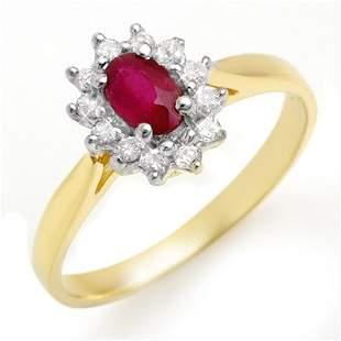 Genuine 0.51 ctw Ruby & Diamond Ring 10K Yellow Gold