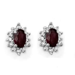 Genuine 0.61 ctw Ruby & Diamond Earrings Yellow Gold