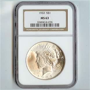 1922 Peace Silver Dollar NGC Certified MS63