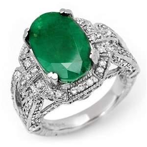 Genuine 8.50 ctw Emerald & Diamond Ring 14K White Gold