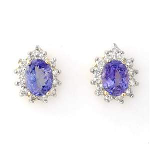 Genuine 4.25 ctw Tanzanite & Diamond Earrings 14K Gold