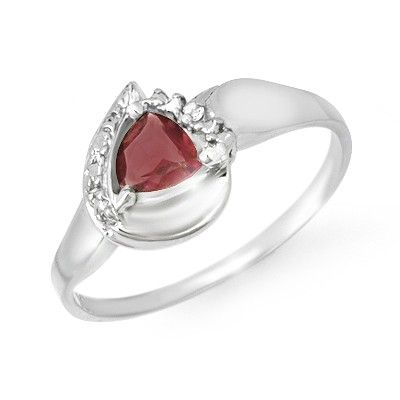 Genuine 060 ctw Garnet  Diamond Ring 10K White Gold