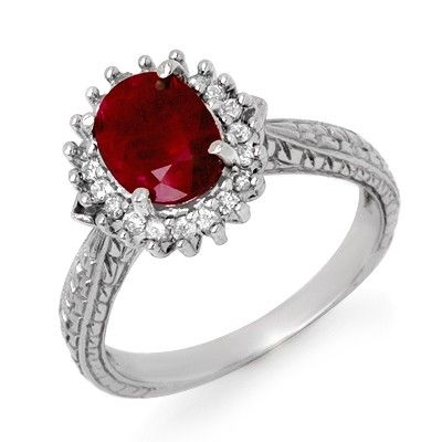 Genuine 2.65 ctw Ruby & Diamond Ring 10K White Gold