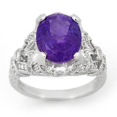 Genuine 6.10ctw Tanzanite & Diamond Ring 14K White Gold