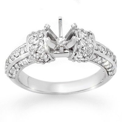 Natural 0.75 ctw Diamond Semi-mount Ring 14K White Gold