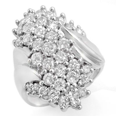 Natural 2.50 ctw Diamond Ring 10K White Gold