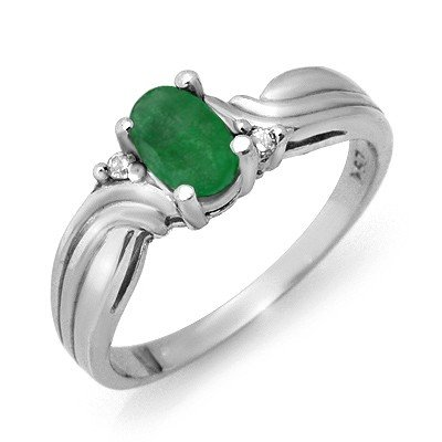 Genuine 0.54 ctw Emerald & Diamond Ring 10K White Gold