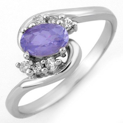 Genuine 0.60ct Tanzanite & Diamond Ring 10K White Gold
