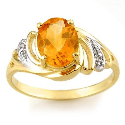 Genuine 2.04 ctw Citrine & Diamond Ring 10K Yellow Gold