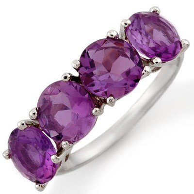 Genuine 3.66 ctw Amethyst Ring 10K White Gold