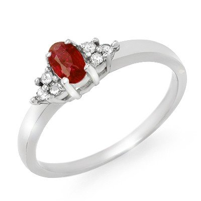 Genuine 0.52 ctw Ruby & Diamond Ring 10K White Gold