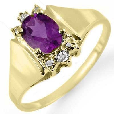 Genuine 0.78 ctw Amethyst & Diamond Ring 10K Yellow Gol