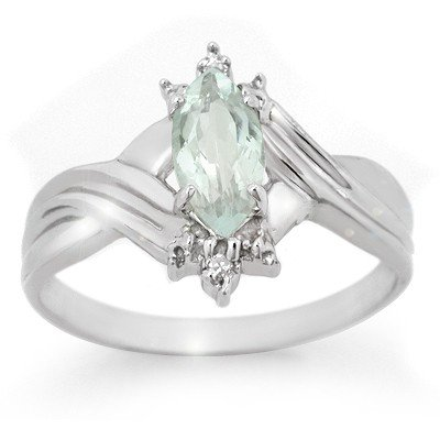 Genuine 0.62 ctw Aquamarine & Diamond Ring 10K Gold