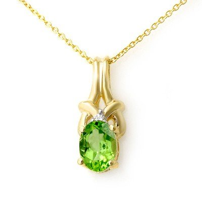 Genuine 0.87 ctw Peridot & Diamond Pendant 10k Gold