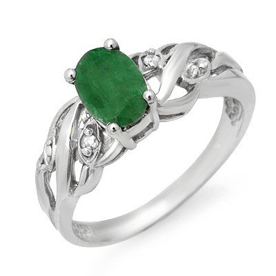 Genuine 0.82 ctw Emerald & Diamond Ring 10K White Gold